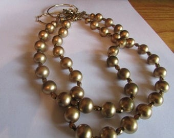 double gold bead necklace plus