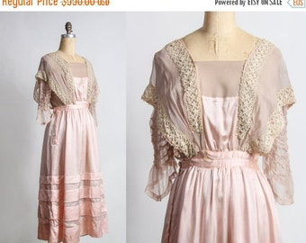 ON SALE 1910s TITANIC Gown . Pink Silk Dress