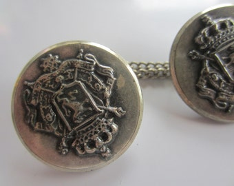 Vintage  Buttons -  lot of 2 matching, large 1  1/8 inch crested silver metal, chain sweater guard ( nov 246b)