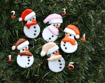 Ornament, snowman, fused glass, art glass, home decor, christmas, tree