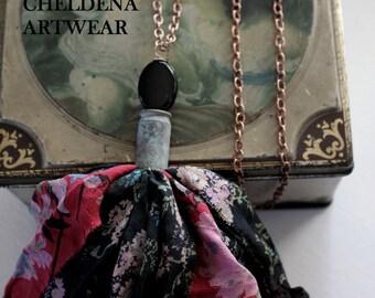 Vintage Vanity Chiffon Sari Silk Tassel Necklace, Multicolored Floral Sari Silk, Lampwork Bead, Hand OX Art Shell, Art Jewelry, Cheldena