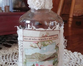 Altered Apothecary Bottle Antique Style Spring Decoration Antique Aqua Decor QueenBe Shabby White Decor Not All Who Wander