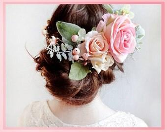 bridal flower crown, pink flower crown, flower crown wedding, bridal flower headpiece, bridal headpiece, pink rose, large flower crown