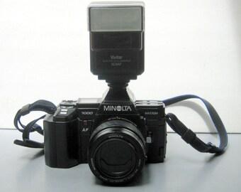 Vintage Film Tested Minolta Maxxum AF 35mm Film Camera with Minolta 70-210mm Zoom, 35-80mm lens, 50mm Lens, Vivitar Flash, Lowepro Case