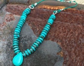 Turquoise and Bali Silver Leather Necklace.  TQBSLN15  Cowgirl Necklace  Southwestern Necklace   Cowgirl Chic   Sundance Style
