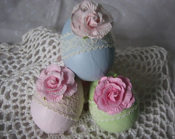 Hand Painted Paper Mache Easter Eggs Pink Rose Lace Basket Decor Spring