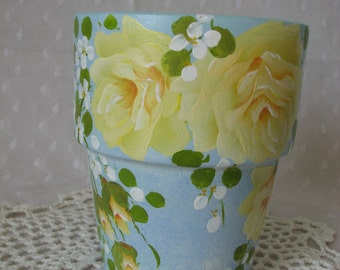 Hand Painted Terracotta Clay Decorative Flower Pot Yellow Roses Blue