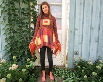 Joy Peace Faith Wisdom Inspirational Burnt Sienna Knit Tunic Top// Medium Large// emmevielle