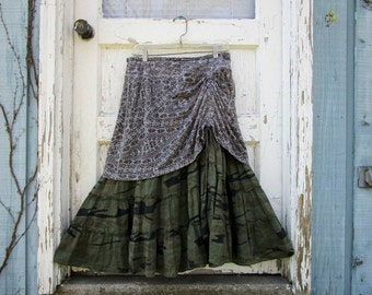 Medium Olive Green Layered Camouflage Skirt// Upcycled// emmevielle