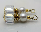 Clear AB Square Cube Cut Crystal and Pearl with Gold, Pendant Charm Earring Dangle Drop Beaded Set, Bride Earrings, Wedding Jewelry