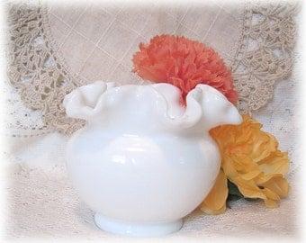 Vintage Ruffled Milk Glass Vase Fenton Small Vase Planter