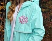 Monogrammed Rain Coat , Personalized Rain Jacket, Charles River Rain Coat, New Englander Rain Coat, Gifts for her, Personalized Gift