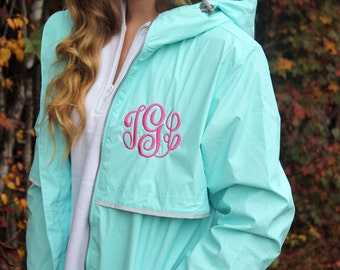 Monogrammed Rain Jacket, Personalized Rain Coat, Gifts for Mom, Gifts for her, Christmas Gift, Personalized Gift