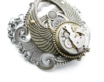 Steampunk Brass & Silver Large Round Scarab Bracelet