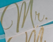 Mr & Mrs Chair sign, ivory gold, chair banner, CS016- shabby chic wedding sign decoration