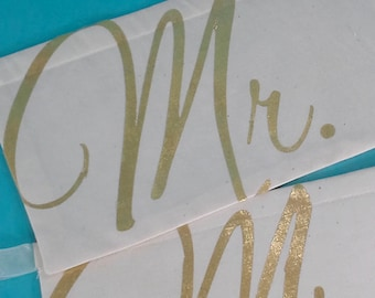 Mr & Mrs Chair sign, ivory gold, chair banner, A016- shabby chic wedding sign decoration