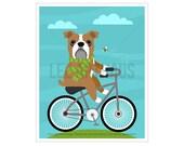 126D Bicycle Art Print - English Bulldog on Bicycle Wall Art - Dog Print - British Bulldog Drawing - Bulldog Poster - Bulldog Wall Art