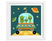 221 Outer Space Print - Aliens in Spaceship Wall Art - Baby Boy Nursery Print - Boy Bedroom Decor - Art for Children - Art for Boys Room