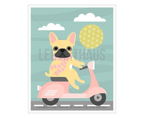 35F French Bulldog Print - French Bulldog on Pink Vespa Scooter Wall Art - Pink Scooter Print - French Bulldog Drawing - Pink Dog Wall Art
