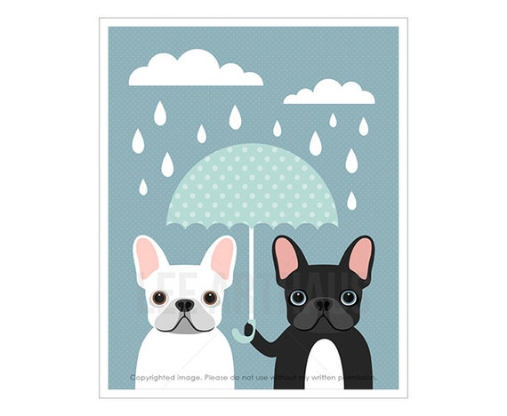 36F Dog Prints - White and Black French Bulldogs with Blue Umbrella Wall Art - French Bulldog Print - Frenchie Dog Wall Art - Dog Wall Decor