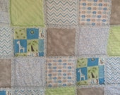 Baby Boy Rag Quilt with Greens and Blues....Elephants and Giraffes