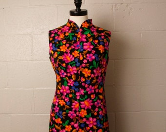 Vintage 1960's 1970's Pat Richards Neon Floral Chinese Dress M