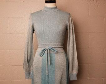Vintage 1960's 1970's Blue Silver Metallic Wenjilli Dress