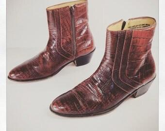 vintage 1980s faux crocodile whiskey brown leather BEATLE boots western ankle zip up chelsea STACY adams mens 7 womens 9 rock n roll biker