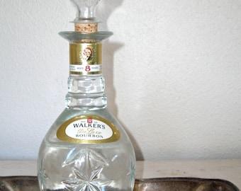 walkers bourbon vintage decanter - pressed glass - home bar decor - retro madmen barware - shabby cottage chic - hollywood regency decor