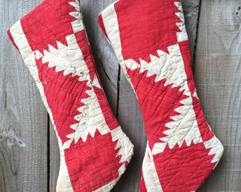 Two Vintage Upcycled Red Quilt Holiday Christmas Stocking