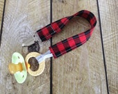 Lumberjack Baby Pacifier Clip - Buffalo Plaid - Soother Clip - Baby
