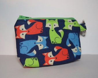 Foxy Zipper Pouch Lime Green Zip - Small Coin Purse or Dice Bag
