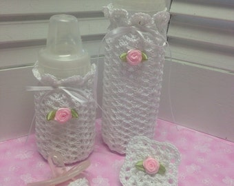 Crochet Baby Gift Set Bottle Covers Paci Pacifier Clip  Christening Baby Shower