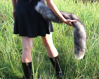 Super double length fox tail - two real eco-friendly tundra fox fur totem tails on carabiner keychain clip for shamanic ritual and dance