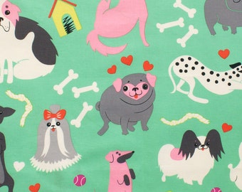 Doggone in Pink/Green, Nicole's Prints - By Alexander Henry 100% Quilters Cotton Available in Yards, Half Yards and Fat Quarters