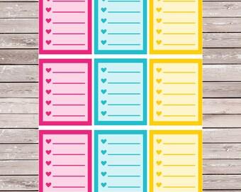 Tropical Solid List Set of 9 Full Boxes Planner Stickers Erin Condren Planner Stickers, ECLP, Filofax, Kikki K