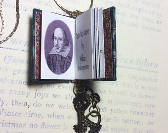 "Miniature book necklace ""Fear no more"" shakespeare  poem"