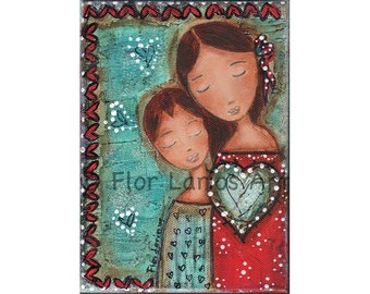 Un Solo Corazón - Mother and Son - Print from Painting 8 x 10 inches By FLOR LARIOS
