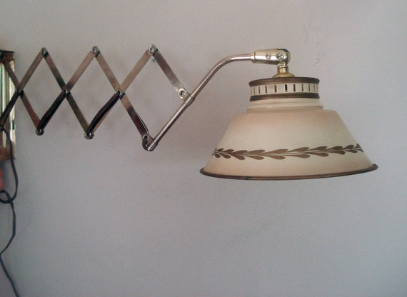 Wall Mounted Accordion Lamps : Vintage wall-mounted accordion light 1960s toleware shade