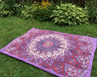 Stake Down Picnic Blanket, White, Purple, Red and Blue Boho Tapestry