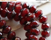 10% off RED HOT POPS .. 10 Premium Picasso Czech Rondelle Glass Beads 5x7mm (4760-10)