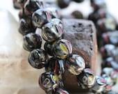 10% off MIDNIGHT MELONS .. New 25 Picasso Czech Melon Beads 6mm (5328-st)