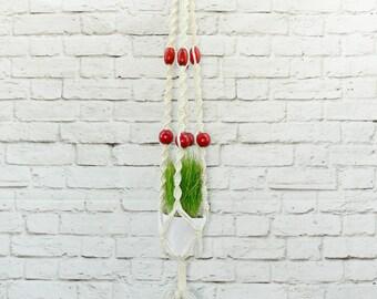 Vintage 70s Wood Beaded Macrame Hanging Planter Large White Red Fringe