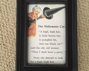 Vintage Framed Halloween Witch with Short Story Black Cat One of A Kind