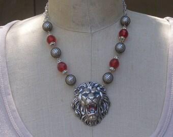 Roaring Lion Necklace, Silver Lion Necklace, Lion Head Pendant, Vintage Assemblage Necklace, Vintage Mesh Bead Necklace, Red Glass Necklace