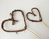 Twig Heart Wedding Cake Topper, Grapevine Hearts on Picks, Simple and Pretty