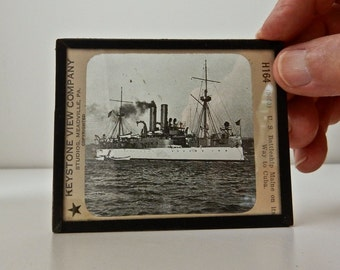 Rare Antique glass slide US Battleship Maine on it's way to Cuba