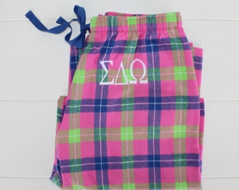 Sorority Monogrammed Flannel Pajama Pants Blue Pink and Green Popsicle Personalized Gift Sale