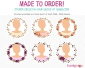 Personal sticker circle set, avatar stickers, envelop seals, digital png clip art (AW03)