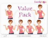 Character value pack, woman avatar digital PNG clipart (Enid VP13)